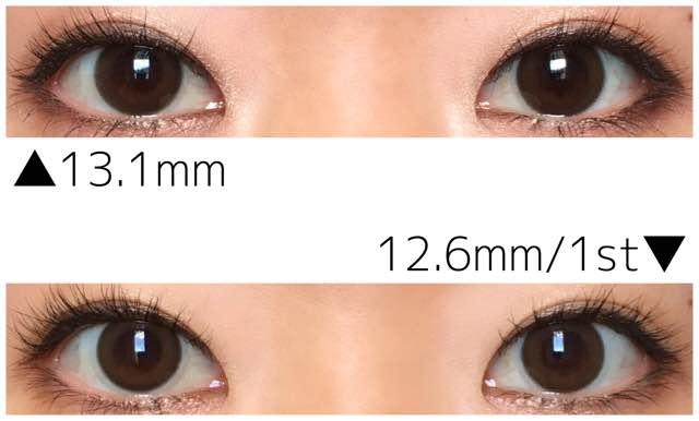 1monthスタンダードブラウン13.1&12.6mm1st発色比較/引き