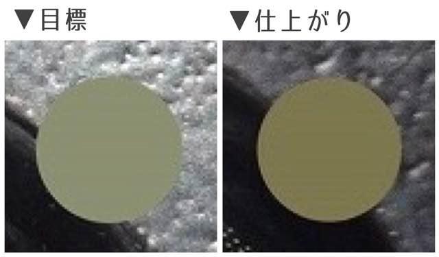 外国人風/高発色系ヘーゼルフチなし1st/目標&仕上がりカラー比較